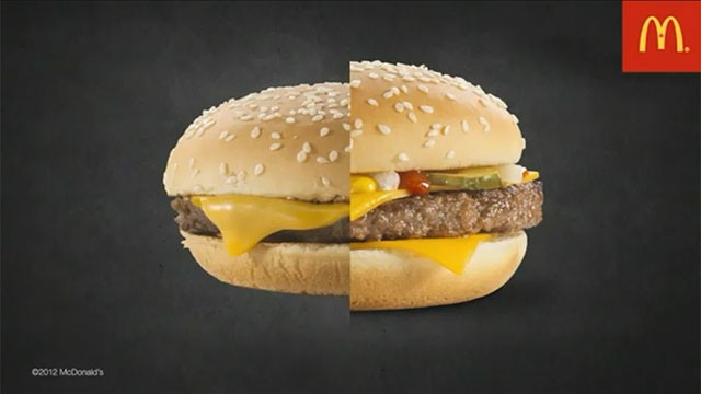 PHOTO: McDonald's has posted a video explaining how a normal burger, left, is transformed by an advertising agency into something bigger and more appealing.