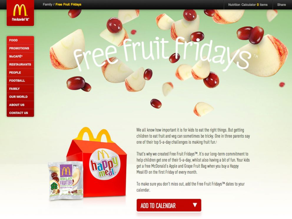 PHOTO: The Free Fruit Fridays portion of the McDonalds UK website.