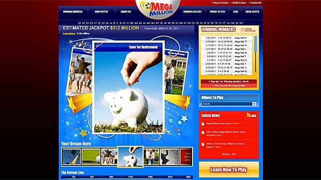 PHOTO: Mega Million jackpot reaches $312 million. What are the odds the money you spent playing the mega millions could result in a hefty retirement nest egg?