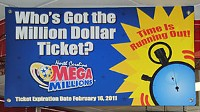 Photo: Who's Got The Million Dollar Ticket sign at Market Express in Stallings, N.C.