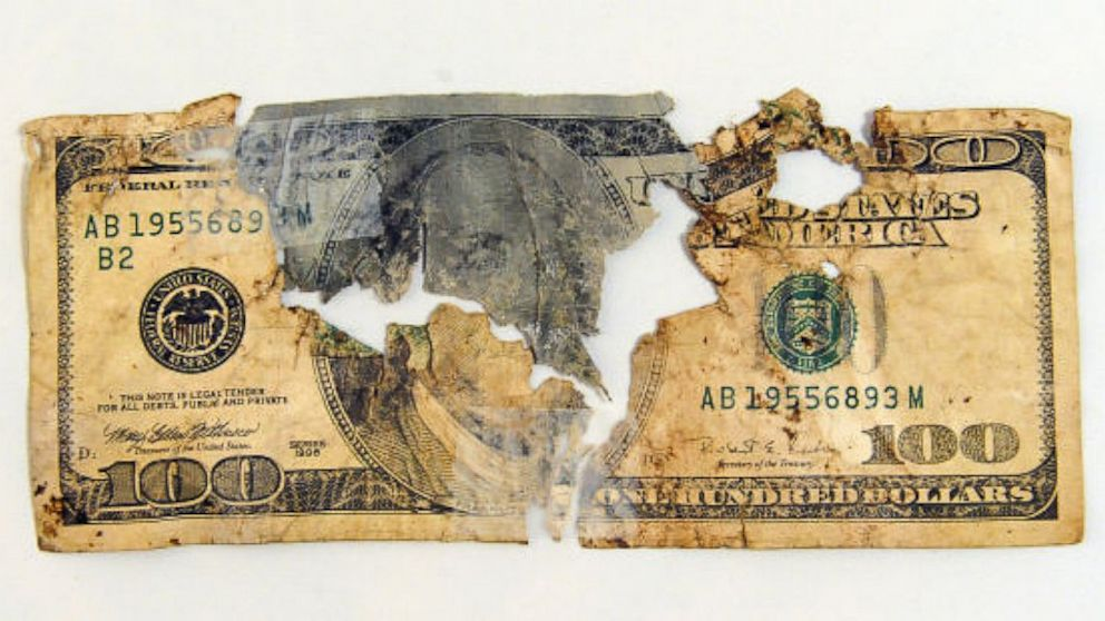 PHOTO: Mangled $100 bill