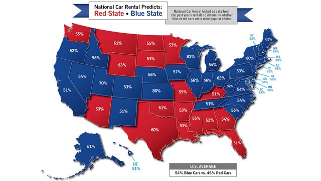 PHOTO: National Car Rental map shows the customers choice of either red or blue rental cars across the 50 states.