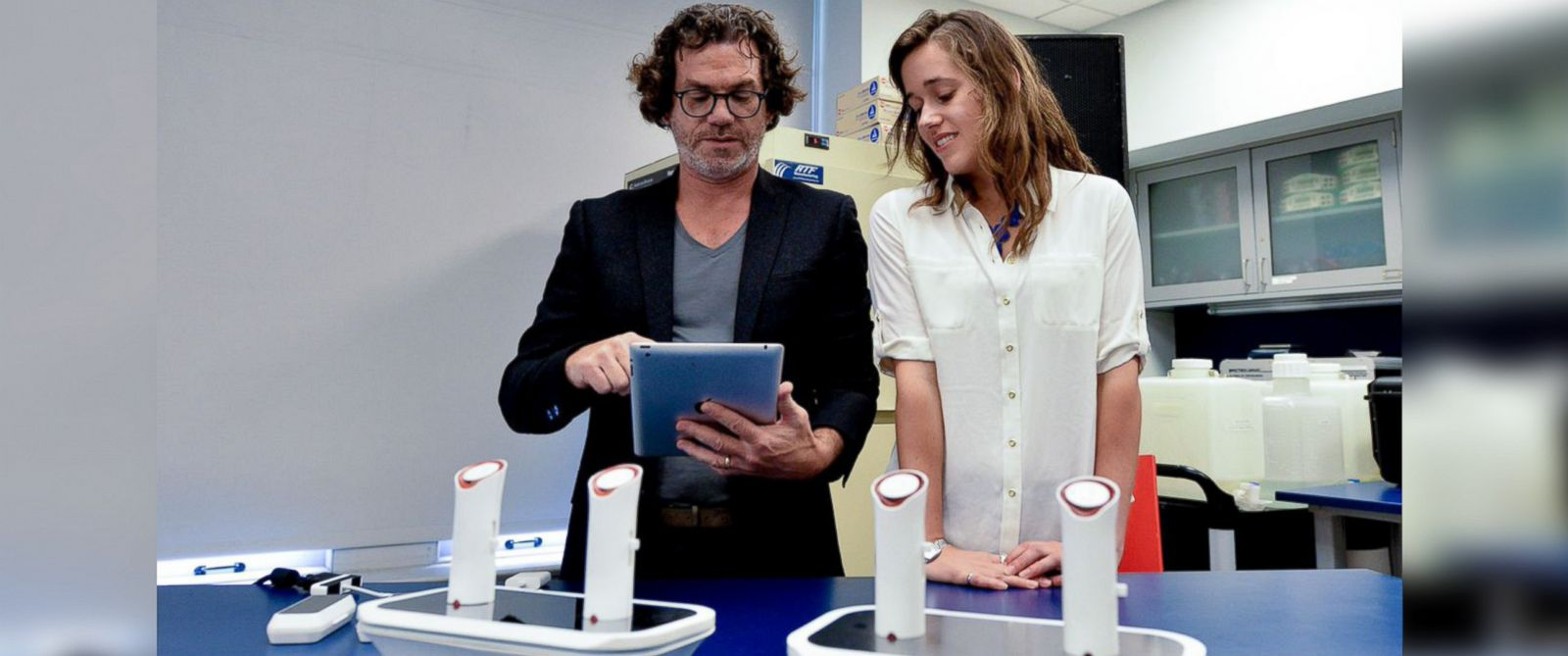 PHOTO: Inventor David Edwards and his partner Rachel Field demonstrate a system for electronically tagging and transmitting scents through the internet called the oPhone on June 17, 2014.