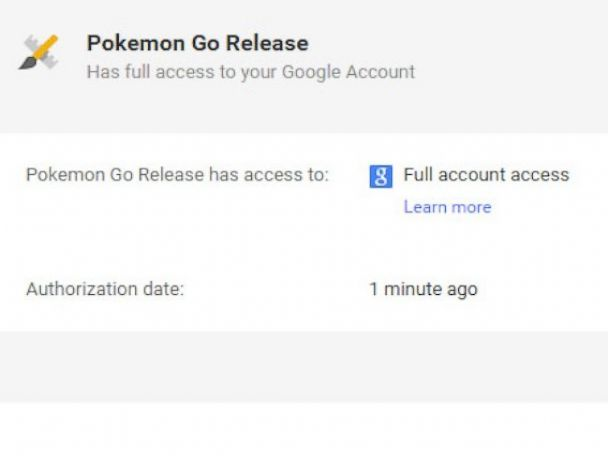 PHOTO: Pokemon Go takes full access when used with a Google account.
