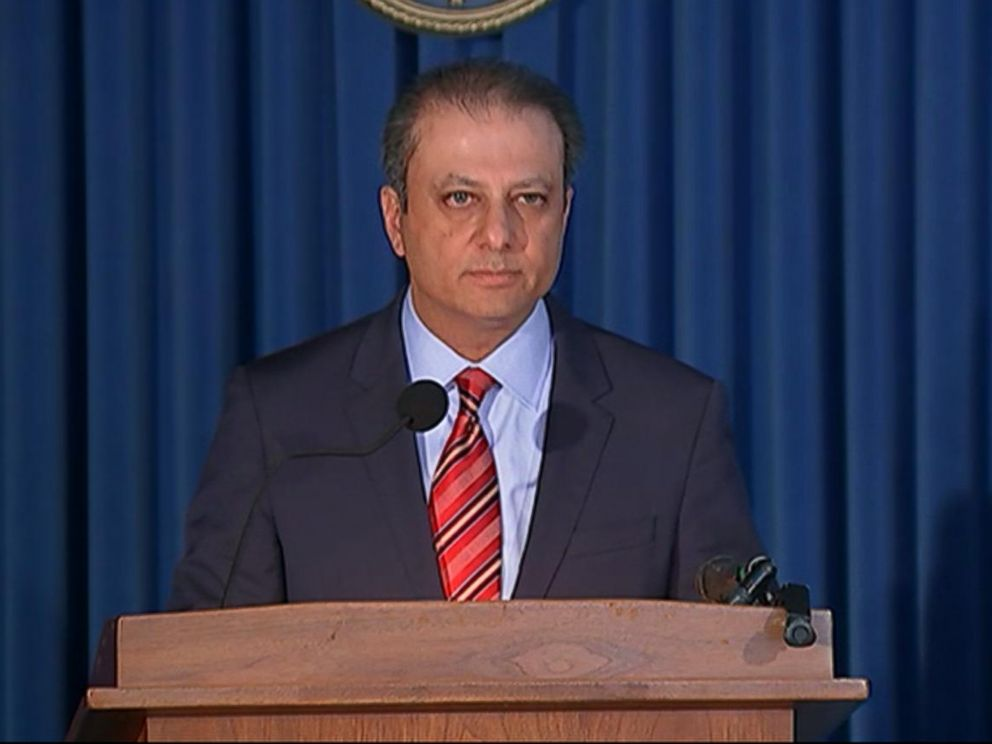 PHOTO: United States Attorney for the Southern District of New York Preet Bharara announces the GM settlement and charges.