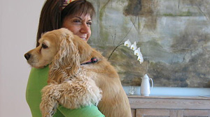 Cynthia Shackelford with her dog, Bailey.