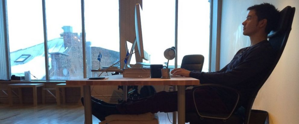 PHOTO: Crew founder Mikael Cho explains why he killed his standing desk in favor of a more relaxed work station.