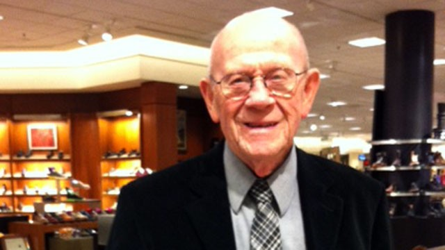 PHOTO: 81 year old Tom Cooper still on the job selling shoes at Nordstrom.