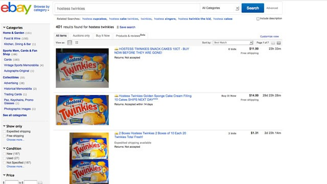 PHOTO: EBay Twinkie sellers try to capitalize on Hostess Brands? announced liquidation.