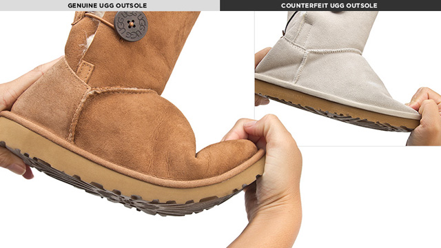 PHOTO: Counterfeit outsoles of the UGG Classic boot are stiff and difficult to flex or bend.