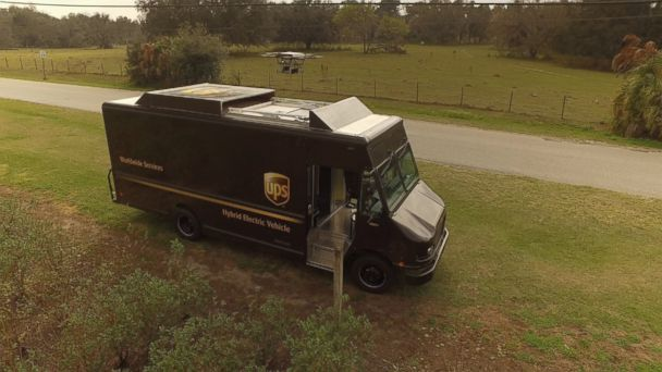 PHOTO: UPS tested on Feb. 20, 2017, launching a drone from the top of a UPS electric van outfitted with a recharging station for the battery-powered drone.
