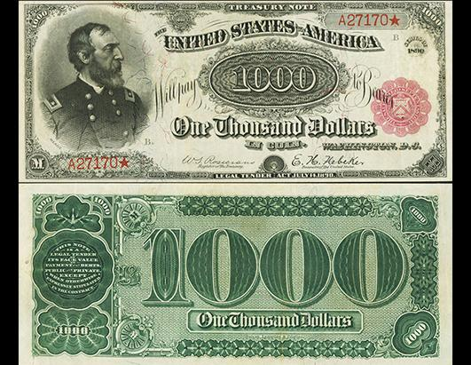 "1890 $1,000 ""Grand Watermelon"" note brings world record $3.29 million"