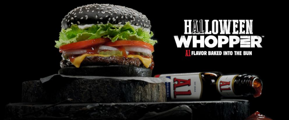 "PHOTO: Burger King restaurants launched the ""A.1. Halloween Whopper sandwich"" on Sept. 28, 2015, for a limited time."