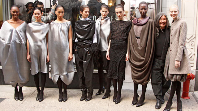 PHOTO: Yeohlee Teng (2nd from right) stands with models after her fall 2011 fashion show in front or her boutique, the first flagship store of a designer in the Garment Center on Feb. 14, 2011.