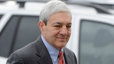 PHOTO: Former Penn State President Graham Spanier arrives at his arraignment in Harrisburg, Penn., in this Nov. 7, 2012 photo.