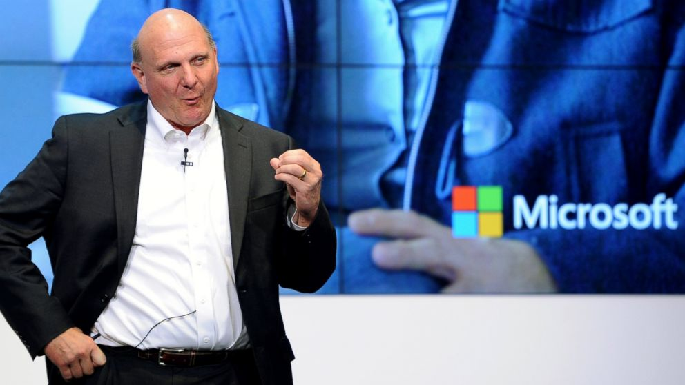 PHOTO: Microsoft CEO Steve Ballmer speaks at the opening of the new Microsoft headquarters in Berlin, Nov