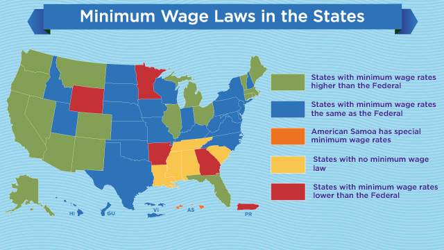 States With Highest Lowest Minimum Wages ABC News - Minimum wage us map