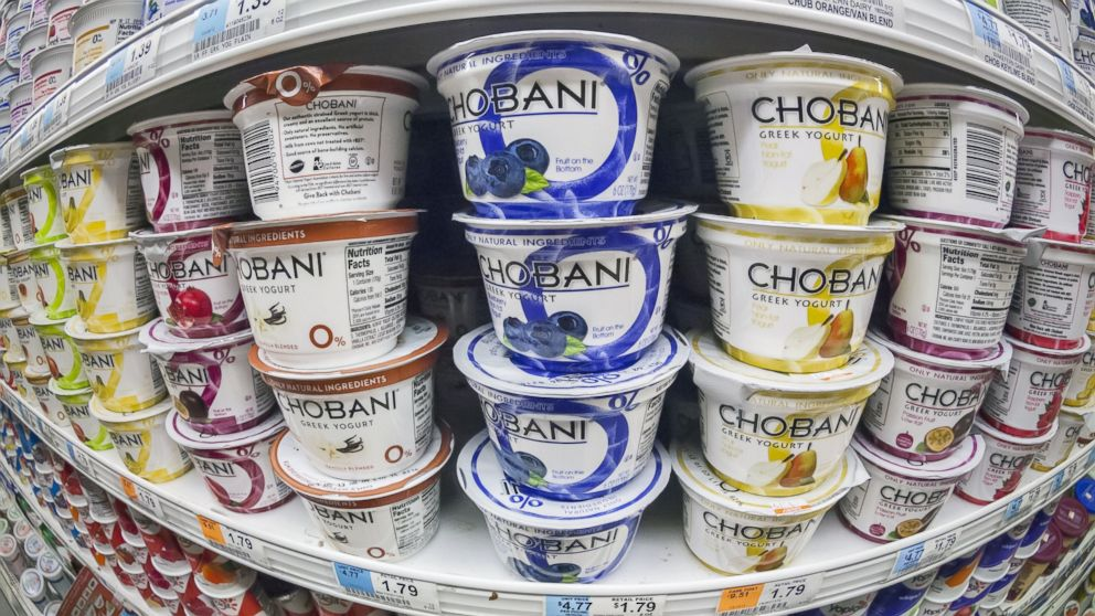 PHOTO: Containers of Chobani yogurt are seen on a supermarket shelf, Sept., 5, 2013, in New York.