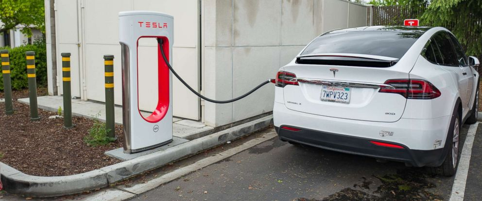 PHOTO: A Tesla Motors Model X SUV is charging at a supercharger station in the Silicon Valley town of Mountain View, Calif., April 7, 2017.
