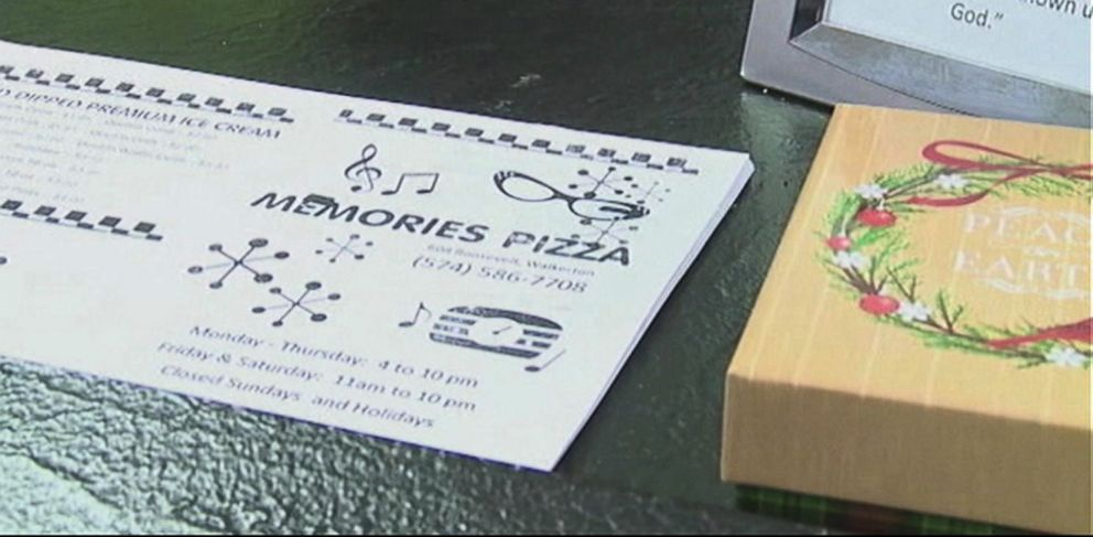 PHOTO: The owners of Memories Pizza in Walkerton, Ind. say that they agree with Governor Pences signing of the Religious Freedom Restoration Act and that they would refuse to provide pizzas for gay weddings.