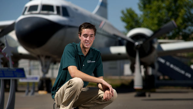PHOTO: Sean Burris 18, is shown in front of a Convair VC-131D at the Aerospace Museum of California in North Highlands, May 24, 2013.