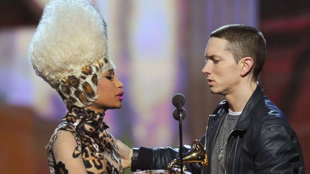 "PHOTO: Nicki Minaj presents Eminem the Best Rap Album Award for ""Recovery"" onstage during The 53rd Annual Grammy Awards held at Staples Center, Feb. 13, 2011, in Los Angeles."