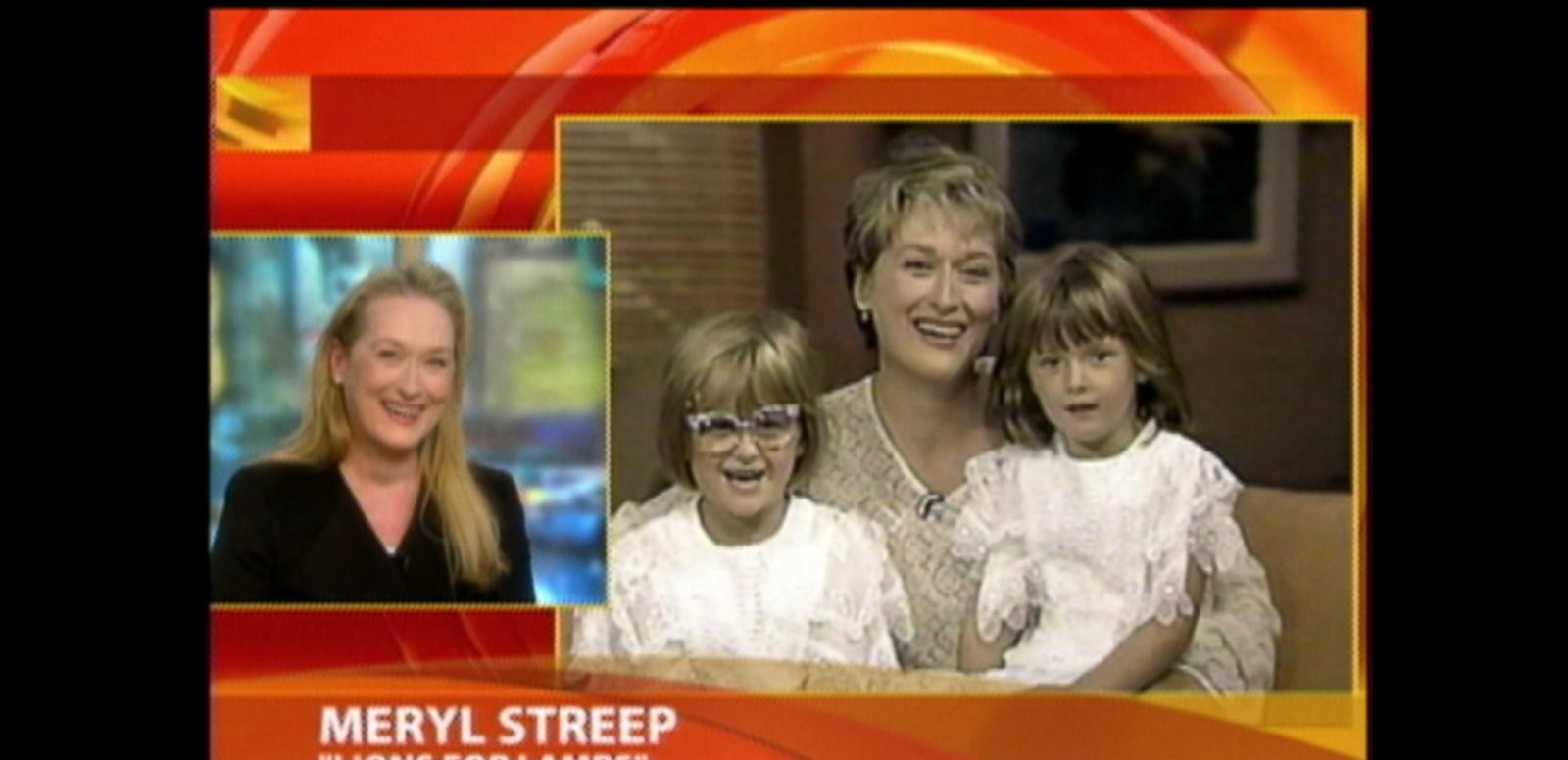"VIDEO: 11/8/2007: The ""Lions for Lambs"" actress reacted to watching a GMA clip from 17 years ago, which she had taped with young daughters Mamie and Grace Gummer."