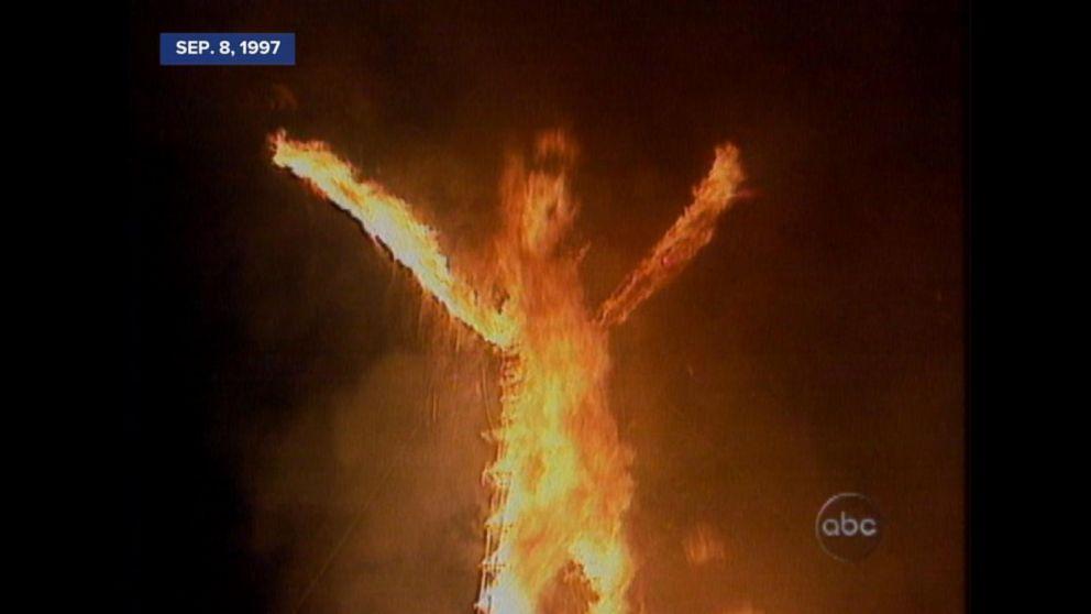 archival video 1997 burning man gathering heats up