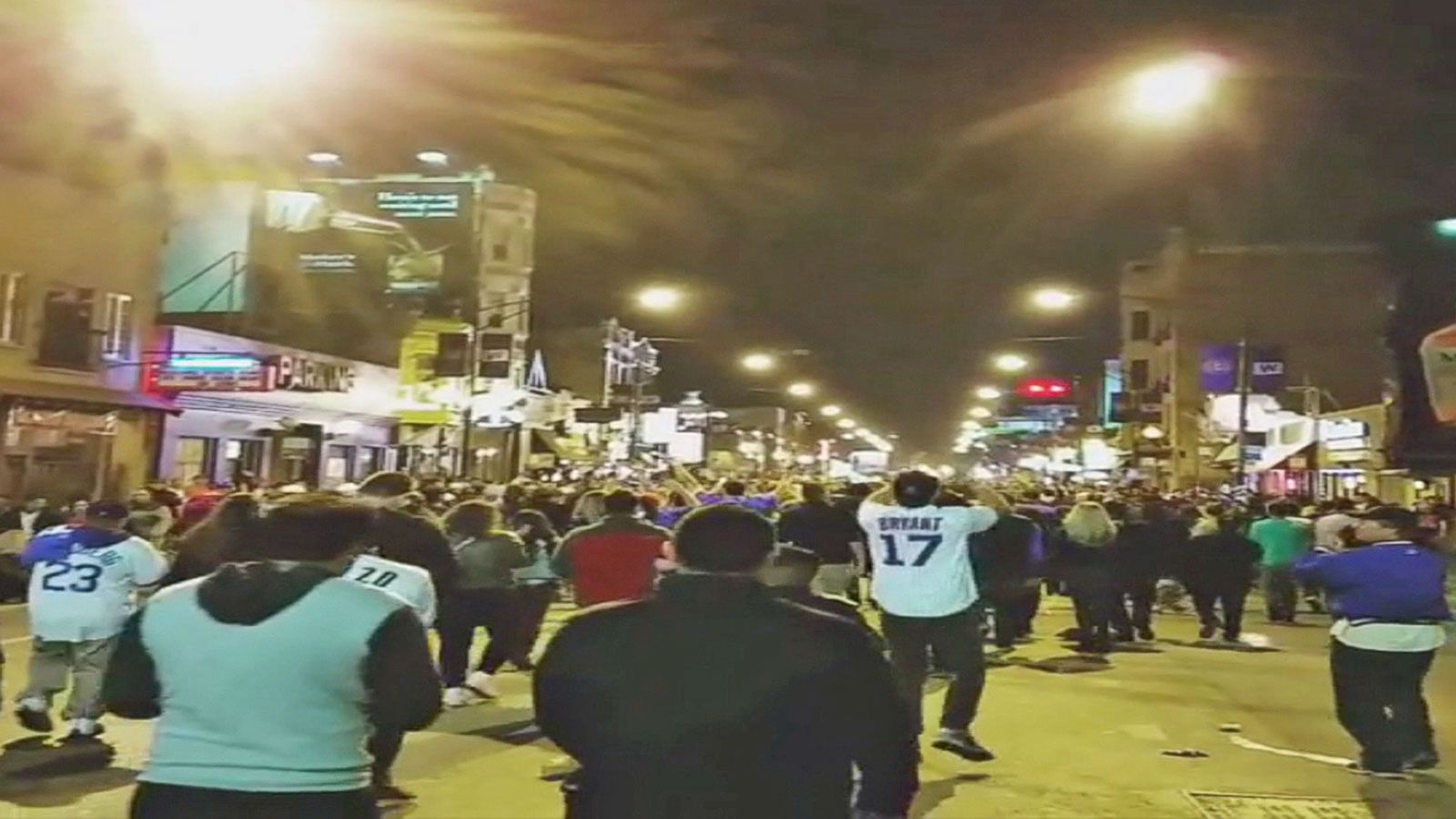 VIDEO: Jubilant Fans Parade in Streets Following Chicago Cubs Victory Over Los Angeles Dodgers
