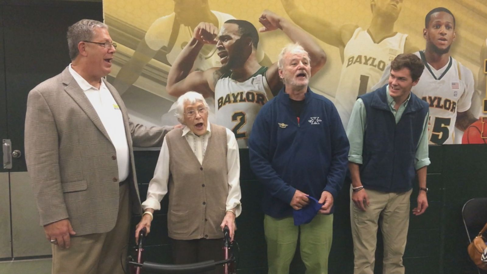 """The actor sang """"Happy Birthday"""" to Maryellen Hook Wible after the Baylor vs Xavier men's basketball game in Waco, Texas, on Saturday."""