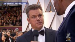 On the Oscar red carpet Matt Damon told GMA host Michael Strahan that his nemesis for years -- Academy Award host Jimmy Kimmel -- -- is talentless.