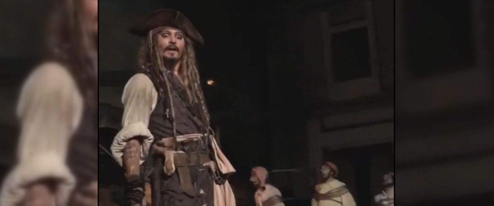 VIDEO: Johnny Depp, Captain Jack Sparrow himself, surprises riders on the Pirates of the Caribbean attraction at Disneyland.