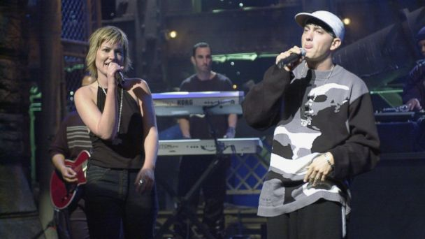 "PHOTO: Dido performs with Eminem, Oct. 7, 2000, on Saturday Night Live"" in New York City."