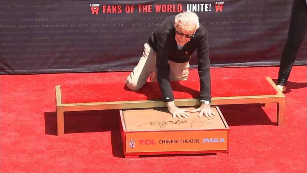 stan lee imprints his hands and feet in cement at tcl chinese theatre video
