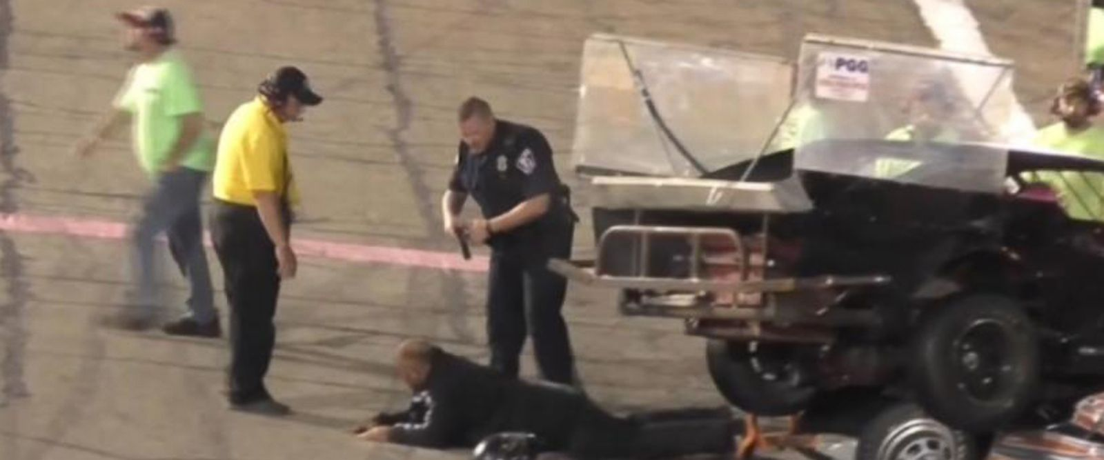 VIDEO: Crash leads to fight, stun gun, arrests on Indiana racetrack