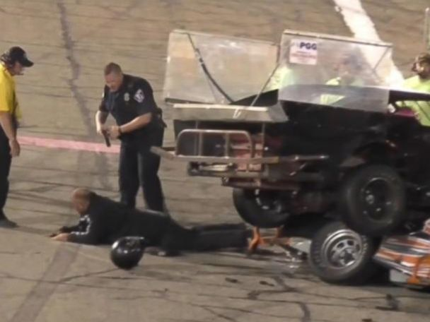 WATCH:  Crash leads to fight, stun gun, arrests on Indiana racetrack