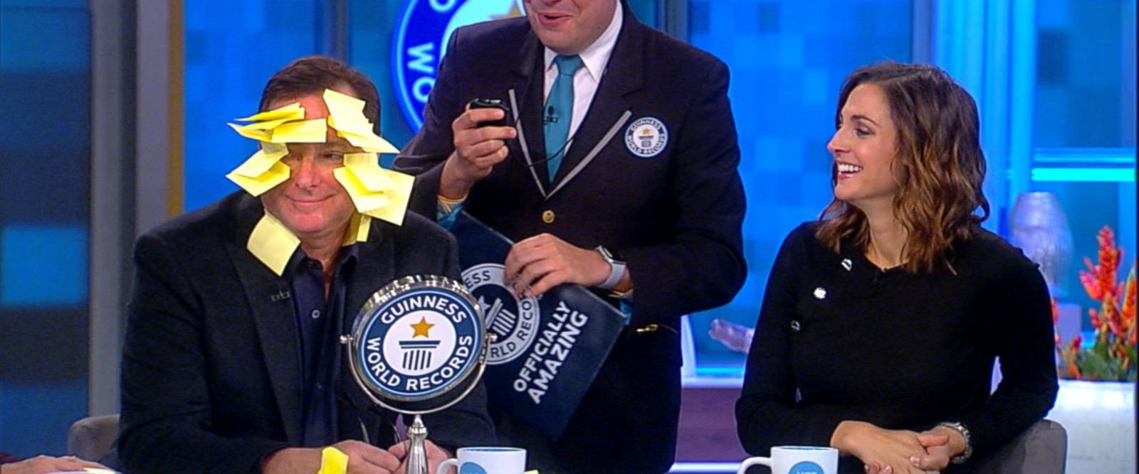 VIDEO: Bob Saget attempts Guinness world record of most sticky notes to the face in one minute