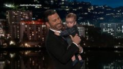 VIDEO: Jimmy Kimmel returned to the stage on Monday after a week-long hiatus and he brought a tiny surprise along with him: his 7-month-old son Billy.