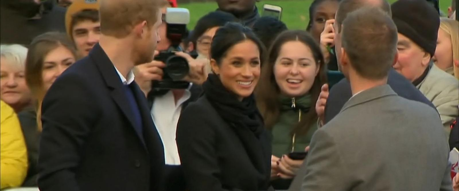 VIDEO: Harry, 33, and Markle, 36, were greeted by cheering fans at Cardiff Castle in Wales.