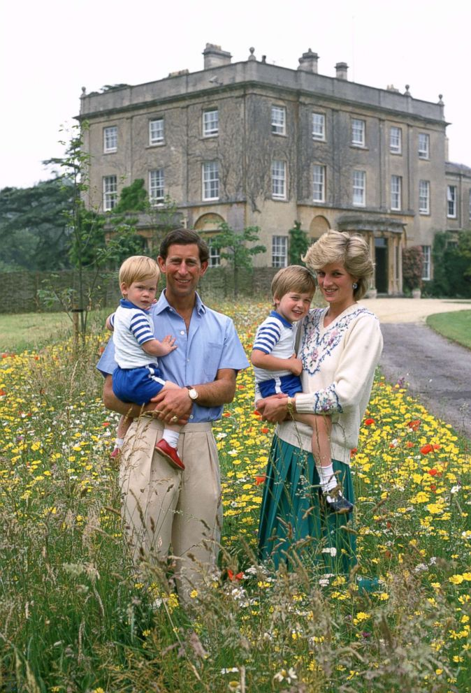 PHOTO: Prince Charles, Prince of Wales and Diana, Princess of Wales pose with their sons Prince William and Prince Harry in the wild flower meadow at Highgrove on July 14, 1986 in Tetbury, England.