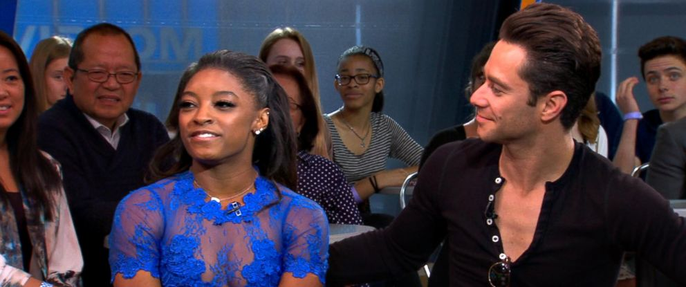 "PHOTO: Simone Biles and Sasha Farber discuss elimination from ""Dancing with the Stars"" on ""GMA."""