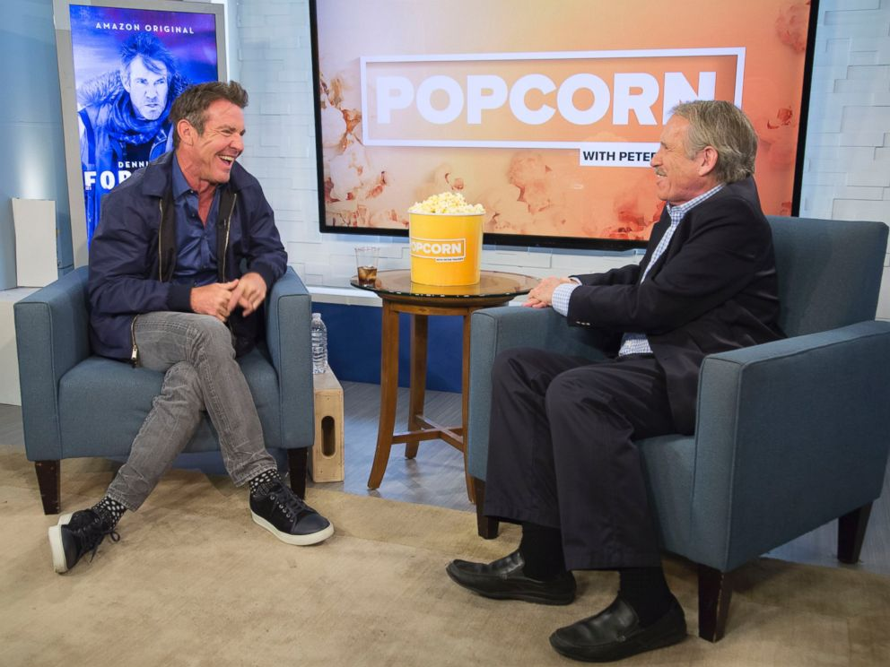 PHOTO: Dennis Quaid and Peter Travers at the ABC News studios in New York, April 10, 2017.