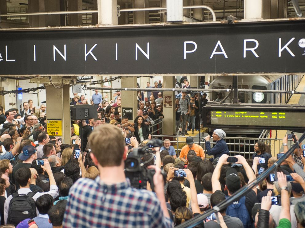 Linkin Park gives a surprise performance at an NYC subway station