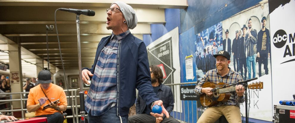 "PHOTO: Linkin Park gave a surprise performance at New York Citys Grand Central Terminal as part of Pop-Up Week on ""GMA."""