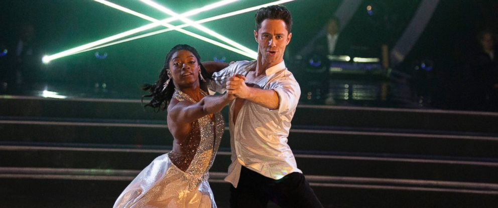"""PHOTO: Simone Biles and Sasha Farber appear on """"Dancing with the Stars,"""" March 20, 2017."""
