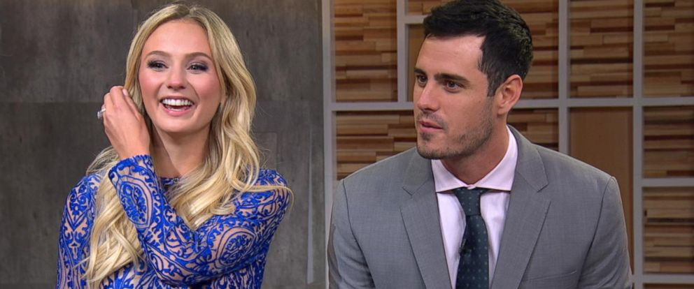 """PHOTO:The Bachelor couple Ben Higgins and Lauren Bushnell discussed their engagement live on """"Good Morning America."""""""