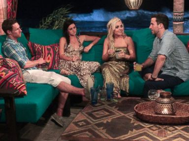 PHOTO: The cast of Bachelor In Paradise get acquainted at a Bachelor-style cocktail party on the shores of Playa Escondida.