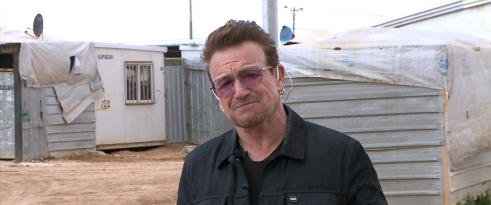 "PHOTO: U2 frontman Bono spoke to ""Good Morning America"" about the refugee crisis while visiting a refugee camp in Jordan."