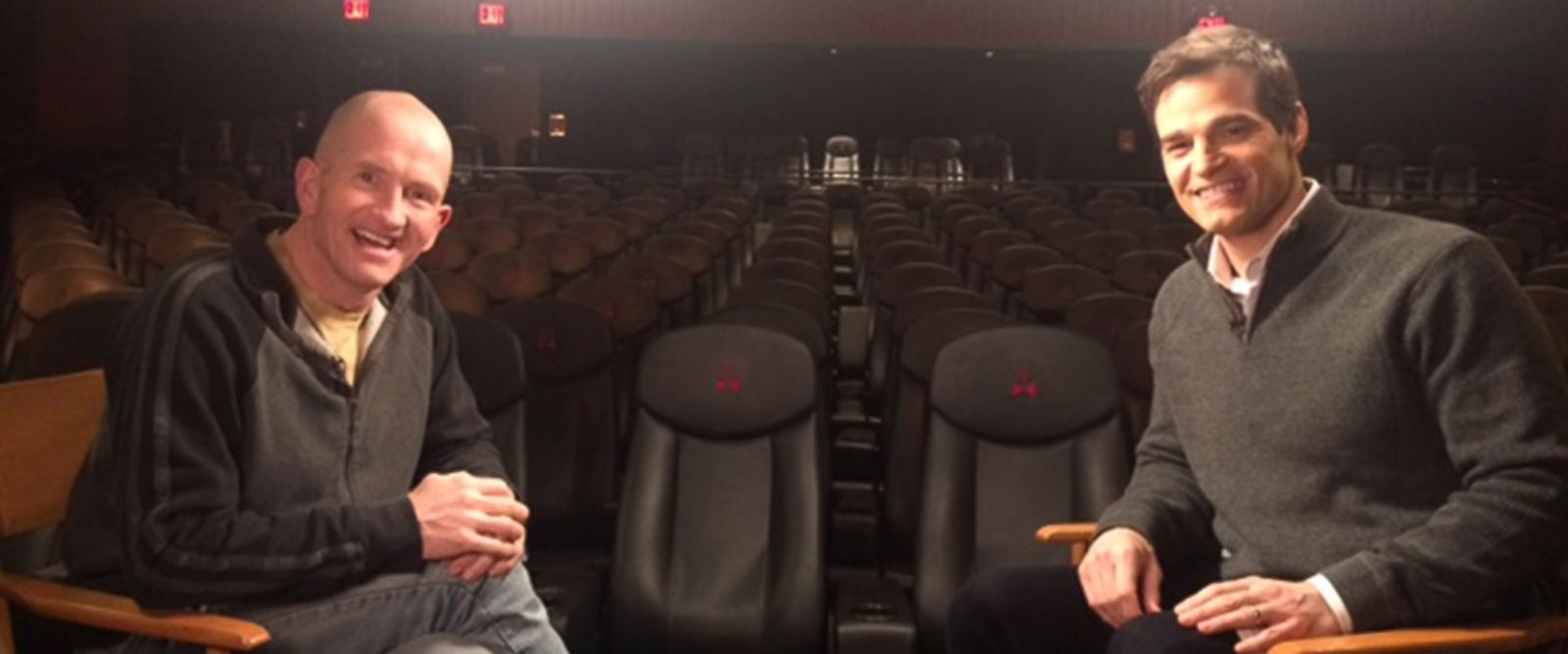 "PHOTO: Michael ""Eddie"" Edwards is interviewed by ""Good Morning America"" meteorologist Rob Marciano at a New York City screening of the movie ""Eddie the Eagle."""