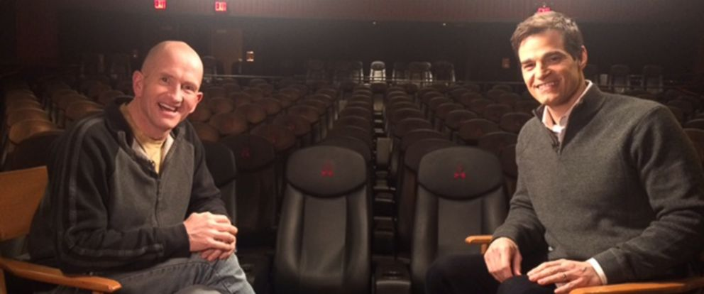 """PHOTO: Michael """"Eddie"""" Edwards is interviewed by """"Good Morning America"""" meteorologist Rob Marciano at a New York City screening of the movie """"Eddie the Eagle."""""""